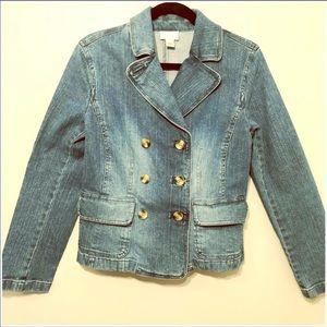 ANN TAYLOR LOFT Denim Blue Jean Jacket Sz 8 EUC